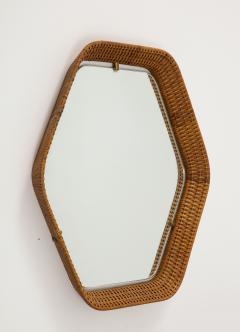 La Permanente Mobili Cant Italian Rattan and Brass Hexagon Shaped Mirror by Cantu 1950s - 1814641