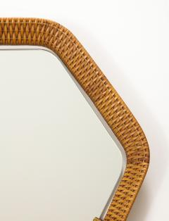 La Permanente Mobili Cant Italian Rattan and Brass Hexagon Shaped Mirror by Cantu 1950s - 1814650