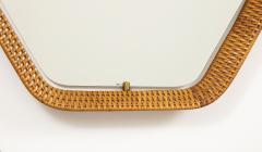 La Permanente Mobili Cant Italian Rattan and Brass Hexagon Shaped Mirror by Cantu 1950s - 1814651