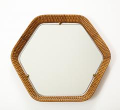 La Permanente Mobili Cant Italian Rattan and Brass Hexagon Shaped Mirror by Cantu 1950s - 1814652