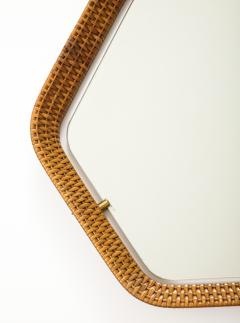 La Permanente Mobili Cant Italian Rattan and Brass Hexagon Shaped Mirror by Cantu 1950s - 1814653