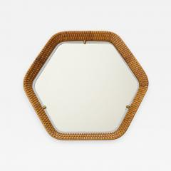 La Permanente Mobili Cant Italian Rattan and Brass Hexagon Shaped Mirror by Cantu 1950s - 1815808