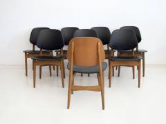 La Permanente Mobili Cant Set of Eight Black Faux Leather and Wood Dining Chairs - 1654079