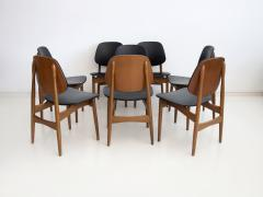 La Permanente Mobili Cant Set of Eight Black Faux Leather and Wood Dining Chairs - 1654083