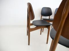 La Permanente Mobili Cant Set of Eight Black Faux Leather and Wood Dining Chairs - 1654084