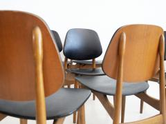 La Permanente Mobili Cant Set of Eight Black Faux Leather and Wood Dining Chairs - 1654085
