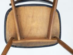 La Permanente Mobili Cant Set of Eight Black Faux Leather and Wood Dining Chairs - 1654090