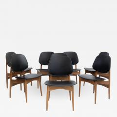 La Permanente Mobili Cant Set of Eight Black Faux Leather and Wood Dining Chairs - 1656176