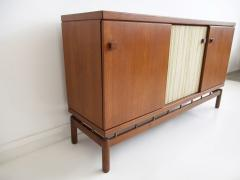 La Permanente Mobili Cant Teak Sideboard with Fabric and Brass Details by Ilmari Tapiovaara - 1565783