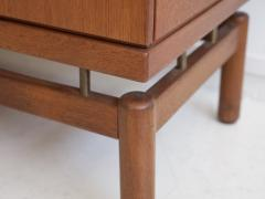 La Permanente Mobili Cant Teak Sideboard with Fabric and Brass Details by Ilmari Tapiovaara - 1565784