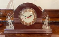 Lackner Neon Glo Lackner Neon Glo Art Deco Marbled Brown Catalin Glass Bakelite Clock - 1999361