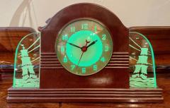 Lackner Neon Glo Lackner Neon Glo Art Deco Marbled Brown Catalin Glass Bakelite Clock - 1999378