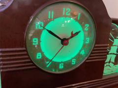 Lackner Neon Glo Lackner Neon Glo Art Deco Marbled Brown Catalin Glass Bakelite Clock - 1999412