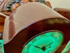 Lackner Neon Glo Lackner Neon Glo Art Deco Marbled Brown Catalin Glass Bakelite Clock - 1999421