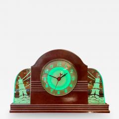 Lackner Neon Glo Lackner Neon Glo Art Deco Marbled Brown Catalin Glass Bakelite Clock - 2001986