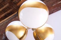 Lamperti Large Italian Modern Brass and Milk Glass Chandelier by Lamperti - 1072506