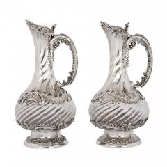 Lancon Pair of French Rococo style silver and crystal jugs - 2045126