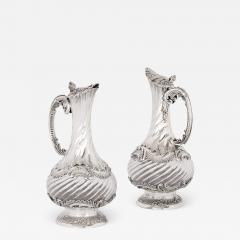 Lancon Pair of French Rococo style silver and crystal jugs - 2046433