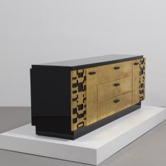 Lane Furniture A Black Lacquer and Gold Leafed Cabinet by Lane 1950s - 369287