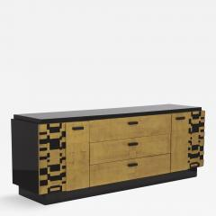 Lane Furniture A Black Lacquer and Gold Leafed Cabinet by Lane 1950s - 440193