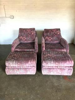 Lane Furniture Clyde Pearson Chairs and Ottomans with Jack Lenor Larsen Fabric - 1267246