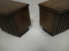 Lane Furniture Handsome Pair Of Ribbed Front Plinth Base Lane Night Stands Mid century Modern - 1862494