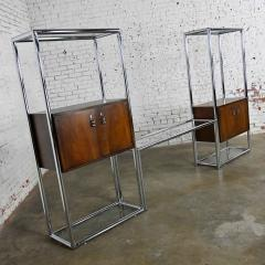 Lane Furniture MCM chrome walnut veneer entertainment display cabinet or room divider - 2066146