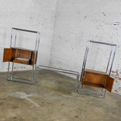 Lane Furniture MCM chrome walnut veneer entertainment display cabinet or room divider - 2066168