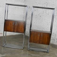 Lane Furniture MCM chrome walnut veneer entertainment display cabinet or room divider - 2066170