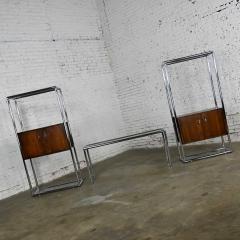 Lane Furniture MCM chrome walnut veneer entertainment display cabinet or room divider - 2066171