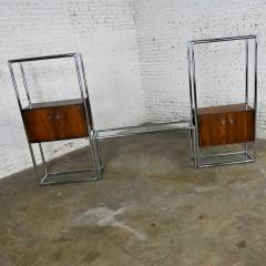 Lane Furniture MCM chrome walnut veneer entertainment display cabinet or room divider - 2066172