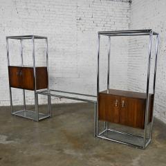 Lane Furniture MCM chrome walnut veneer entertainment display cabinet or room divider - 2066189