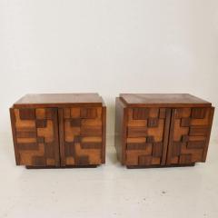 Lane Furniture Mid Century Modern Pair of Brutalist Walnut Nightstands by Lane - 886480
