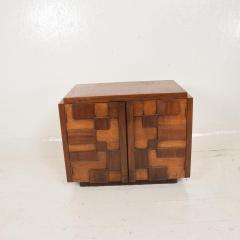 Lane Furniture Mid Century Modern Pair of Brutalist Walnut Nightstands by Lane - 886481