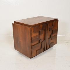 Lane Furniture Mid Century Modern Pair of Brutalist Walnut Nightstands by Lane - 886483