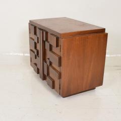 Lane Furniture Mid Century Modern Pair of Brutalist Walnut Nightstands by Lane - 886485