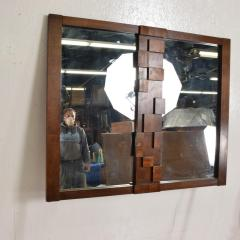 Lane Furniture Mid Century Modernist Brutalist Walnut Mirror by LANE - 885218
