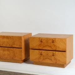Lane Furniture Pair of Minimalist Burl Wood Nightstands by Lane - 1111723