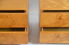 Lane Furniture Pair of Minimalist Burl Wood Nightstands by Lane - 1111729