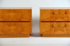 Lane Furniture Pair of Minimalist Burl Wood Nightstands by Lane - 1111731