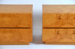 Lane Furniture Pair of Minimalist Burl Wood Nightstands by Lane - 1111732