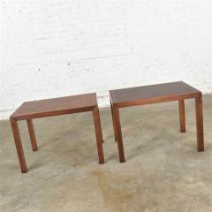Lane Furniture Vintage modern lane parsons style 1124 5 walnut end or side tables - 1588642