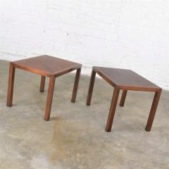 Lane Furniture Vintage modern lane parsons style 1124 5 walnut end or side tables - 1588643