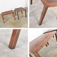 Lane Furniture Vintage modern lane parsons style 1124 5 walnut end or side tables - 1588715