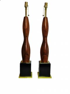 Laurel Lamp Company Pair of American Modern Mahogany and Brass Table Lamps Laurel Lamp Company - 688637