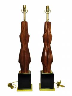 Laurel Lamp Company Pair of American Modern Mahogany and Brass Table Lamps Laurel Lamp Company - 688639