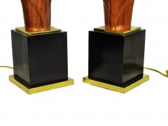 Laurel Lamp Company Pair of American Modern Mahogany and Brass Table Lamps Laurel Lamp Company - 688645