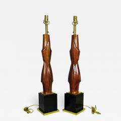 Laurel Lamp Company Pair of American Modern Mahogany and Brass Table Lamps Laurel Lamp Company - 725523