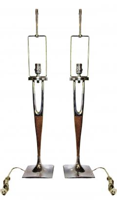 Laurel Lamp Company Pair of American Modern Mahogany and Polished Nickel Table Lamps Laurel Lamp Co - 688493