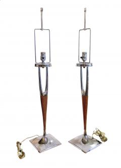 Laurel Lamp Company Pair of American Modern Mahogany and Polished Nickel Table Lamps Laurel Lamp Co - 688536